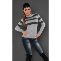 DREAMLIKE FINE-KNITTED POLO-NECK SWEATER WITH STRIPES GREY