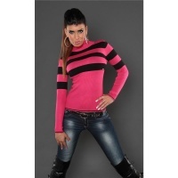 DREAMLIKE FINE-KNITTED POLO-NECK SWEATER WITH STRIPES FUCHSIA/BLACK