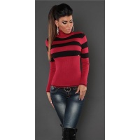 DREAMLIKE FINE-KNITTED POLO-NECK SWEATER WITH STRIPES RED/BLACK Onesize (UK 8,10,12)