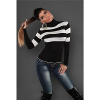 DREAMLIKE FINE-KNITTED POLO-NECK SWEATER WITH STRIPES BLACK/WHITE