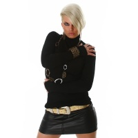 ELEGANT POLO-NECK SWEATER BLACK Onesize (UK 8,10,12)