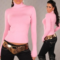 ELEGANT KNITTED SWEATER POLO-NECK SWEATER PINK Onesize (UK 8,10,12)