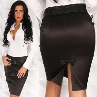 SEXY SATIN PENCIL SKIRT WITH BELT BLACK UK 8 (XS)