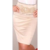 ELEGANT SATIN WAIST SKIRT WITH BELT BEIGE UK 10
