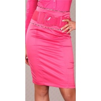ELEGANT SATIN WAIST SKIRT WITH BELT FUCHSIA UK 14