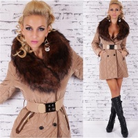 EXCLUSIVE QUILTED COAT WITH FAKE FUR COLLAR AND BELT BEIGE