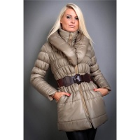 EXCLUSIVE QUILTED COAT WINTER COAT WITH BELT KHAKI