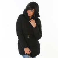 EXCLUSIVE QUILTED JACKET WINTER COAT WITH BELT BLACK UK 14 (XL)