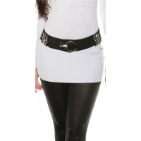 ELEGANT WOMEN`S STRETCH-BELT WITH RHINESTONES BLACK