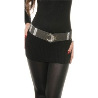 ELEGANT WOMEN`S STRETCH BELT WITH LOTS OF RHINESTONES GREY