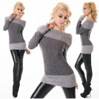 ELEGANT KNITTED SWEATER LONG PULLOVER CARMEN STYLE DARK GREY