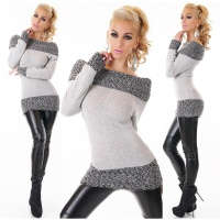 ELEGANT KNITTED SWEATER LONG PULLOVER CARMEN STYLE GREY