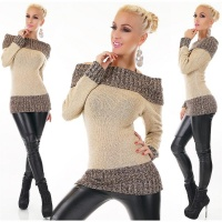 ELEGANT KNITTED SWEATER LONG PULLOVER CARMEN STYLE LIGHT BROWN