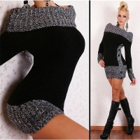 ELEGANT KNITTED SWEATER LONG PULLOVER CARMEN STYLE BLACK Onesize (UK 8,10,12)
