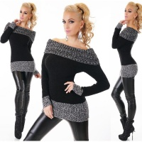 ELEGANT KNITTED SWEATER LONG PULLOVER CARMEN STYLE BLACK
