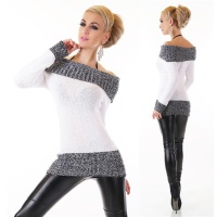ELEGANT KNITTED LONG SWEATER PULLOVER CARMEN STYLE WHITE/GREY Onesize (UK 8,10,12)