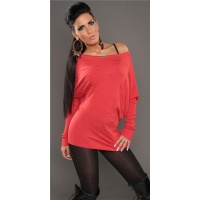 ELEGANT FINE-KNITTED SWEATER LONG SWEATER WITH BATWING SLEEVES CORAL Onesize (UK 8,10,12)