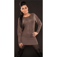 SEXY KNITTED LONG SWEATER WITH GLITTER CAPPUCCINO UK 14/16 (L/XL)
