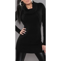 ELEGANT KNITTED LONG SWEATER POLO-NECK SWEATER BLACK UK 12/14