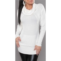 ELEGANT KNITTED LONG SWEATER POLO-NECK SWEATER WHITE UK 12/14