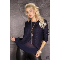 ELEGANT KNITTED SWEATER WITH SEQUINS AND CHIFFON DARK BLUE