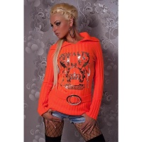 ELEGANT KNITTED SWEATER WITH SILVER PRINT ORANGE Onesize (UK 8,10,12)