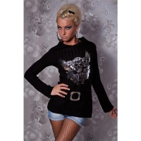 ELEGANT KNITTED SWEATER WITH SILVER PRINT BLACK Onesize (UK 8,10,12)