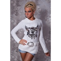 ELEGANT KNITTED SWEATER WITH SILVER PRINT WHITE
