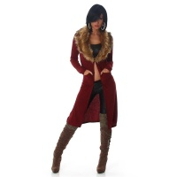 ELEGANT RIB-KNITTED CARDIGAN COAT WITH FAKE FUR COLLAR WINE-RED