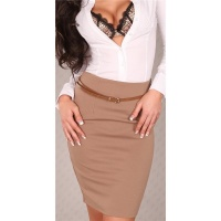 ELEGANT WAIST-SKIRT SKIRT WITH BELT CAPPUCCINO UK 10 (M)
