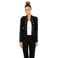ELEGANTER TAILLIERTER BLAZER DAMENJACKE IN MILITARY-LOOK SCHWARZ