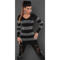 ELEGANT FINE-KNITTED V-NECK LONG SWEATER WITH GLITTER BLACK