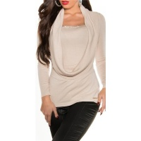ELEGANT FINED-KNITTED COWL-NECK SWEATER WITH RHINESTONES BEIGE Onesize (UK 8,10,12)