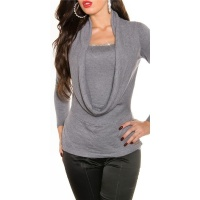 ELEGANT FINED-KNITTED COWL-NECK SWEATER WITH RHINESTONES GREY Onesize (UK 8,10,12)