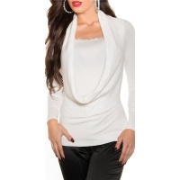 ELEGANT FINED-KNITTED COWL-NECK SWEATER WITH RHINESTONES WHITE Onesize (UK 8,10,12)