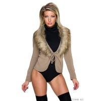 NOBLE WRAP CARDIGAN WITH FAKE FUR COLLAR BEIGE
