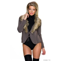 NOBLE WRAP CARDIGAN WITH FAKE FUR COLLAR TAUPE