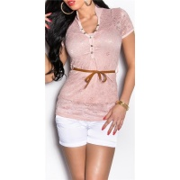 ELEGANT SHORT-SLEEVED 2IN1 LACE SHIRT INCL. BELT PINK