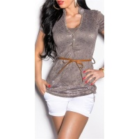 ELEGANT SHORT-SLEEVED 2IN1 LACE SHIRT INCL. BELT TAUPE