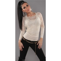 ELEGANT LONG-SLEEVED 2IN1 SHIRT WITH LACE TANKTOP BEIGE Onesize (UK 8,10,12)