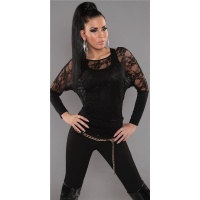 ELEGANT LONG-SLEEVED 2IN1 SHIRT WITH LACE TANKTOP BLACK Onesize (UK 8,10,12)