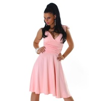 ELEGANT A-LINE EVENING DRESS WITH BROAD STRAPS PINK