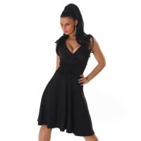 ELEGANT A-LINE EVENING DRESS WITH BROAD STRAPS BLACK