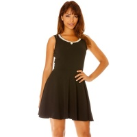 ELEGANT A-LINE MINIDRESS WITH PEARL APPLICATIONS BLACK