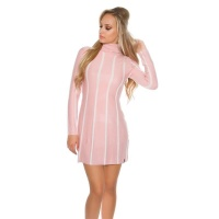 ELEGANT KNITTED A-LINE DRESS WITH STRIPED PATTERN PINK