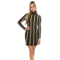 ELEGANT KNITTED A-LINE DRESS WITH STRIPED PATTERN BLACK