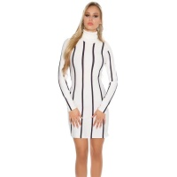 ELEGANT KNITTED A-LINE DRESS WITH STRIPED PATTERN WHITE