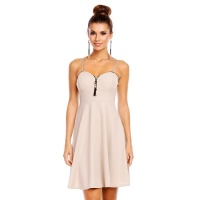 ELEGANT A-LINE STRAP MINIDRESS WITH DECORATING ZIPPER BEIGE