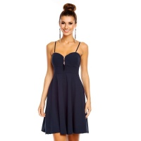 ELEGANT A-LINE STRAP MINIDRESS WITH DECORATIVE ZIPPER NAVY