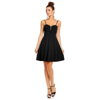 ELEGANT A-LINE STRAP MINIDRESS WITH DECORATIVE ZIPPER BLACK